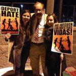 Laura Shaw '15, volunteer Carlos Rodriguez, and Amber Attalla '16