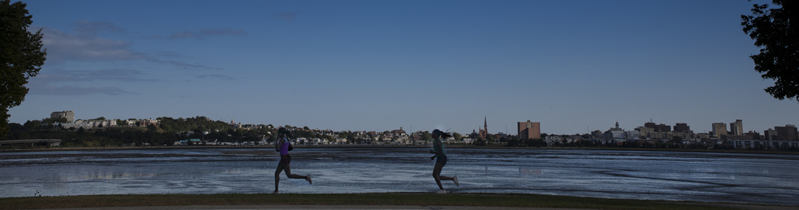 Runners on the Back Bay in Portland, Maine