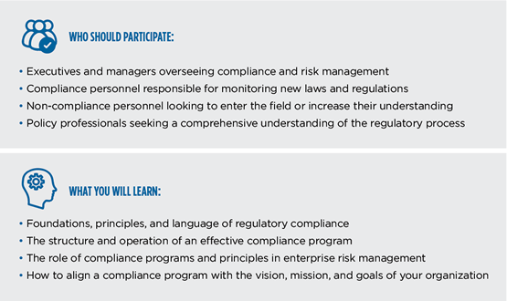 Infographic on who should take the Certificate in Regulatory Compliance