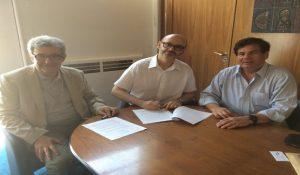 Professors Philippe Pierre, Dean Frédéric Lambert, Professor Charles Norchi