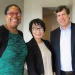 University of Maine School of Law Dean Danielle Conway, Ms. Bian Ying, and Verrill Dana Attorney Greg Fryer