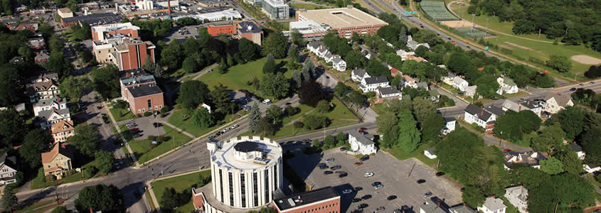 Aerial View of the University of Maine School of Law and the Muskie School of Public Service