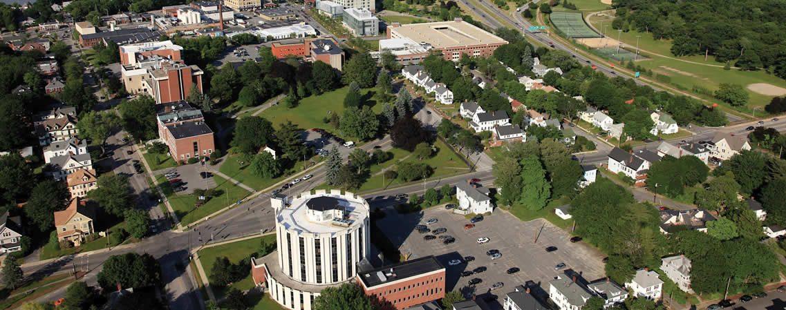 Aerial View of Law School & Muskie School of Public Service